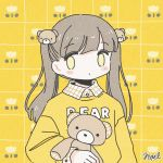 1girl bangs bear_hair_ornament blush brown_hair collared_shirt eyebrows_visible_through_hair hair_ornament long_sleeves no_nose noeru_(noellemonade) original plaid plaid_shirt print_sweater shirt signature solo stuffed_animal stuffed_toy sweater teddy_bear twintails upper_body yellow_eyes yellow_sweater yellow_theme
