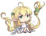 1girl :> =3 ahoge bangs blonde_hair bracelet chibi commentary_request corn dress eyebrows_visible_through_hair frilled_dress frills full_body granblue_fantasy green_eyes hair_ornament hairclip harvin jewelry long_hair melissabelle nogisaka_kushio pointy_ears prehensile_hair simple_background sitting smug solo strap_slip very_long_hair white_background white_dress