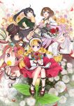 6+girls :d ;) absurdres ahoge amatou_cacao animal animal_ears ankle_cuffs apron bag bare_shoulders bell black_hair blonde_hair blue_eyes blush book bouquet bow braid brown_hair cape cat cat_ears cherry_blossoms closed_mouth commentary_request covering_mouth dress eyepatch floating_hair floral_background flower flower_wreath from_above hair_bell hair_bow hair_flower hair_ornament hairclip hand_in_hair hand_on_headwear hand_up hat head_wreath highres holding holding_book holding_bouquet holding_branch holding_flower jewelry lavender_hair long_hair long_sleeves looking_at_viewer medical_eyepatch multiple_girls necklace on_flower one_eye_closed open_mouth original outstretched_arm petals pigeon-toed pink_eyes red_eyes red_flower red_rose red_skirt rose school_uniform serafuku shoe_bow shoes short_hair shoulder_bag side_braid sitting skirt skull_hair_ornament smile tassel twin_braids twintails very_long_hair violet_eyes white_cat white_dress