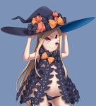 1girl abigail_williams_(fate/grand_order) absurdres bare_arms black_headwear black_panties blonde_hair blue_background bow breasts butterfly_wings commentary_request fate/grand_order fate_(series) hand_on_headwear hat hat_bow highres kairopoda keyhole long_hair looking_at_viewer navel orange_bow panties polka_dot polka_dot_bow red_eyes revealing_clothes simple_background small_breasts smile solo stuffed_animal stuffed_toy teddy_bear underwear very_long_hair wings witch_hat