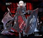 1girl alternate_costume armor armored_dress arrow axe bangs belt black_background black_ribbon blood blood_drip blood_on_face bloody_clothes bloody_weapon braid breastplate breasts character_name corset crazy_eyes eyebrows_visible_through_hair flag full_body girls_frontline gloves gradient_hair greaves grey_hair gun highres holding holding_gun holding_weapon large_breasts long_hair looking_at_viewer multicolored_hair namesake official_art plate_armor polearm pouch red_eyes redhead ribbon shield shotgun shotgun_shells sidelocks silver_hair smile solo spas-12 spas-12_(girls_frontline) spear sword terras torn_clothes twintails weapon