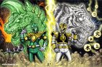 2boys arm_guards arm_up armor artist_name belt bodysuit clenched_hand dagger dragon dragon_caesar dragon_ranger dragonzord gloves glowing gold_armor gold_trim gosei_sentai_dairanger green_bodysuit green_ranger hand_up helmet kaiju_samurai kiba_ranger kyouryuu_sentai_zyuranger lightning male_focus mecha mighty_morphin_power_rangers multiple_boys oldschool open_hand power_rangers science_fiction shoulder_armor super_sentai sword tiger tokusatsu tommy_oliver weapon white_bodysuit white_ranger white_tigerzord