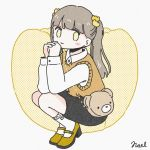1girl bag bangs bear_bag brown_hair collared_shirt flower full_body hair_flower hair_ornament hands_up long_hair long_sleeves no_nose noeru_(noellemonade) original shirt shoes shoulder_bag smile socks solo squatting sweater_vest twintails white_shirt yellow_flower yellow_footwear yellow_sweater_vest yellow_theme