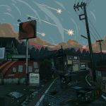 animated animated_gif artist_name garage highres house no_humans original pixel_art puddle scenery shooting_star storm_drain waneella window