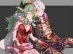 1boy 1girl belt breasts brown_gloves cape chiki cleavage closed_eyes closed_mouth commission fire_emblem fire_emblem:_kakusei gloves green_hair hood hood_down large_breasts long_hair long_sleeves male_my_unit_(fire_emblem:_kakusei) mamkute my_unit_(fire_emblem:_kakusei) nintendo pointy_ears ponytail red_gloves rheamii robe short_hair simple_background sitting sleeping smile tiara white_hair