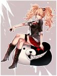 1girl bear_hair_ornament black_bra black_footwear black_jacket blonde_hair boots bra breasts closed_eyes danganronpa danganronpa_1 enoshima_junko floating_hair full_body grey_background hair_ornament jacket knee_boots kurozatou_owata legs_crossed medium_breasts miniskirt monokuma nail_polish necktie plaid plaid_skirt pleated_skirt red_nails red_skirt sitting skirt sleeves_rolled_up smile solo twintails underwear white_neckwear