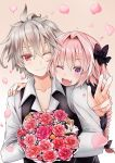 2boys :d ahoge astolfo_(fate) bangs black_bow blush bow braid collarbone commentary_request eyebrows_visible_through_hair fate_(series) flower hair_between_eyes hair_bow hair_intakes hand_on_shoulder head_on_shoulder highres holding holding_flower kakan_(amka) long_braid long_hair long_sleeves looking_at_viewer male_focus medium_hair multiple_boys one_eye_closed open_mouth pink_flower red_eyes red_flower shirt sieg_(fate/apocrypha) single_braid skin_fang smile trap w