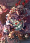 1girl bangs barefoot blindfold blonde_hair blue_dress blue_eyes blunt_bangs carpet center_frills chibi_(shimon) couch cup cupboard cushion dog doll drawer dress eyepatch feathered_wings flower frilled_dress frilled_sleeves frills globe goat_horns gothic_lolita hair_flower hair_ornament hairband indoors lolita_fashion long_hair looking_at_viewer monster original petals picture_frame reclining ribbon-trimmed_clothes ribbon_trim rose scroll short_sleeves sidelocks sitting table teacup teapot treasure_chest vase very_long_hair wide_sleeves wings