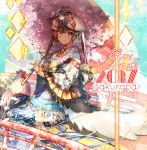 1girl 2017 artist_name beret bird bow brooch brown_eyes brown_hair cherry_blossoms chicken chinese_zodiac english_text flower frills gloves happy_new_year hat hat_bow hat_feather holding holding_umbrella itofuya japanese_clothes jewelry kimono kimono_skirt lolita_fashion long_hair long_sleeves looking_at_viewer nengajou new_year obi oriental_umbrella original petals rooster sash sitting smile solo twintails umbrella very_long_hair wa_lolita white_gloves wide_sleeves year_of_the_rooster