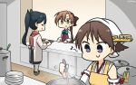 3girls akigumo_(kantai_collection) apron black_hair brown_hair closed_eyes commentary_request cooking counter dated detached_sleeves flipped_hair green_eyes hair_ribbon hakama hamu_koutarou headgear hiei_(kantai_collection) high_ponytail highres houshou_(kantai_collection) japanese_clothes kantai_collection kappougi kimono ladle long_hair multiple_girls plate ponytail pot ribbon ribbon-trimmed_sleeves ribbon_trim school_uniform short_hair smile violet_eyes yellow_apron