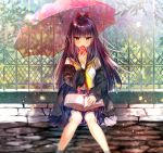 1girl apple bangs black_cardigan blunt_bangs blurry blush book book_on_lap bow brown_eyes cardigan commentary_request day depth_of_field feet_out_of_frame fence flower food fruit hair_bow highres holding holding_food holding_fruit itofuya knees_together_feet_apart leaf light_particles long_hair long_sleeves looking_away looking_down navy_blue_skirt neckerchief open_book open_mouth original outdoors petals pleated_skirt purple_hair red_bow red_umbrella school_uniform serafuku sitting skirt socks solo transparent transparent_umbrella tree umbrella yellow_neckwear