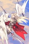 1girl angel_wings armor balance_(superdust) black_choker blonde_hair blood breasts broken_armor choker clouds cloudy_sky commentary_request crying crying_with_eyes_open elbow_pads flying highres holding holding_sword holding_weapon impaled injury long_hair medium_breasts original over-kneehighs pelvic_curtain polearm sideboob sky solo spear sword tears thigh-highs translation_request weapon wings