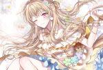 1girl ;) bang_dream! blonde_hair blue_flower clenched_hand detached_collar dress floral_background flower frills green_flower hair_ribbon half_updo long_hair looking_at_viewer neck_ribbon nennen one_eye_closed orange_neckwear orange_ribbon pink_flower pom_pom_earrings purple_flower ribbon shirasagi_chisato smile solo sparkle striped striped_neckwear violet_eyes wrist_cuffs yellow_flower
