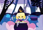 1girl animal_ears artist_name bubble cauldron cooking crescent dog_ears dog_girl doubutsu_no_mori forest halloween hat looking_at_viewer lowres mixing nature nintendo no_humans shizue_(doubutsu_no_mori) solo steam sumehra symbol-shaped_pupils tobidase:_doubutsu_no_mori tree_stump witch_hat