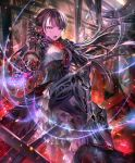 1girl android artist_request black_hair cygames dress embers frilled_dress frills gears gem grey_eyes hand_on_own_chest high_heels long_hair looking_at_viewer mono_garnet_rebel multicolored multicolored_eyes official_art open_mouth red_eyes robot_joints ruins shadowverse sitting slit_pupils solo