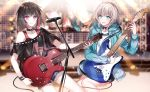 2girls :d aoba_moka aqua_eyes aqua_jacket bang_dream! bass_guitar black_hair black_shirt blurry blurry_background collar electric_guitar grey_hair guitar hood hood_down hooded_jacket instrument jacket lightning_bolt long_sleeves microphone_stand mitake_ran multicolored_hair multiple_girls music nennen off-shoulder_shirt off_shoulder open_mouth padlocked_collar playing_instrument plectrum redhead scaffolding screen shirt short_hair short_shorts short_sleeves shorts smile stage stage_lights streaked_hair studded studded_bracelet studded_collar violet_eyes
