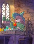 1girl bangs book drawer feet_out_of_frame green_headwear green_sweater grey_eyes hat heikala highres inktober leaf long_hair long_sleeves molten_rock open_book open_drawer original pink_hair plant potted_plant purple_skirt sitting skirt solo sweater window witch witch_hat