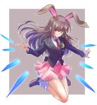 1girl animal_ears brown_eyes brown_hair bunny_girl cosplay highres iesupa jumping long_hair mary_janes necktie pink_skirt rabbit_ears red_neckwear reisen_udongein_inaba reisen_udongein_inaba_(cosplay) rwby shoes skirt solo suit_jacket tail touhou velvet_scarlatina