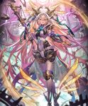 1girl android ankle_wings artist_request blonde_hair blue_eyes crossed_legs cygames energy_wings eyebrows_visible_through_hair full_body gradient_hair holding holding_staff legs_crossed limonia_flawed_saint long_hair looking_at_viewer mechanical_halo multicolored_hair official_art open_mouth petals purple_hair robot_joints shadowverse smile solo staff veil very_long_hair waist_cape watson_cross weighing_scale