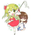 2girls ;o arm_up ascot bangs bare_shoulders black_eyes black_footwear black_hair blue_skirt chibi commentary_request cosplay costume_switch detached_sleeves eyebrows_visible_through_hair frog_hair_ornament gohei green_eyes green_hair hair_between_eyes hair_ornament hair_tubes hakurei_reimu hakurei_reimu_(cosplay) holding jitome kneehighs kochiya_sanae kochiya_sanae_(cosplay) long_hair long_sleeves looking_at_viewer midriff_peek multiple_girls one_eye_closed one_side_up open_mouth pentagram petticoat red_skirt ribbon-trimmed_sleeves ribbon_trim sarashi seiza shide shinoba shirt shoes sidelocks simple_background sitting skirt skirt_set snake_hair_ornament standing standing_on_one_leg touhou very_long_hair white_background white_legwear white_shirt wide_sleeves yellow_neckwear