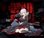 1girl alternate_costume armor axe bangs belt black_background black_ribbon blood blood_drip blood_on_face bloody_clothes bloody_weapon braid breastplate breasts character_name cleavage corset crazy_eyes damaged dress elbow_pads eyebrows_visible_through_hair flag full_body girls_frontline gloves gradient_hair greaves grey_dress grey_hair gun hand_behind_head highres holding holding_gun holding_weapon large_breasts long_hair looking_at_viewer multicolored_hair namesake neck_ribbon official_art plate_armor pouch red_eyes red_ribbon redhead ribbon shield shotgun shotgun_shells sidelocks silver_hair sitting slit_pupils smile solo spas-12 spas-12_(girls_frontline) sword terras torn_clothes twintails wariza weapon