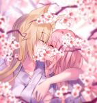2girls animal_ear_fluff animal_ears arm_around_neck bangs bare_shoulders blonde_hair blurry blurry_background blurry_foreground blush closed_eyes collarbone commentary_request eyebrows_visible_through_hair facing_another flower fox_ears grey_kimono hair_between_eyes highres japanese_clothes kimono kiss long_hair multiple_girls original pink_hair profile rabbit_ears sleeveless sleeveless_kimono tree_branch upper_body usagihime very_long_hair white_flower yuri