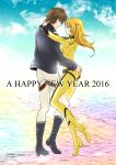 1boy 1girl 2016 arms_around_neck black_footwear black_jacket blonde_hair blue_sky bodysuit boots brown_eyes brown_hair clouds couple day eye_contact floating_hair from_side full_body hand_on_ass happy_new_year hug jacket knee_boots kodai_susumu long_hair long_sleeves looking_at_another mori_yuki new_year outdoors pants sky uchuu_senkan_yamato uchuu_senkan_yamato_2199 white_pants yellow_bodysuit yokon2199