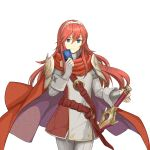 1girl absurdres alternate_color cape card dakkalot falchion_(fire_emblem) fingerless_gloves fire_emblem fire_emblem:_kakusei fire_emblem_cipher fire_emblem_heroes gloves highres intelligent_systems long_hair looking_at_viewer lucina nintendo redhead smile sora_(company) super_smash_bros. tiara