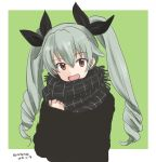 1girl :d anchovy bangs black_ribbon black_scarf black_sweater casual commentary dated drill_hair eyebrows_visible_through_hair fringe_trim girls_und_panzer green_background green_hair hair_ribbon head_tilt long_hair long_sleeves looking_at_viewer mutsu_(layergreen) open_mouth outside_border plaid plaid_scarf red_eyes ribbon scarf smile solo sweater twin_drills twintails twitter_username upper_body