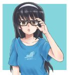 1girl adjusting_eyewear aqua_background bangs bespectacled black-framed_eyewear black_hair blue_shirt brown_eyes casual commentary eyebrows_visible_through_hair frown girls_und_panzer glasses hairband long_hair looking_at_viewer mutsu_(layergreen) open_mouth outside_border print_shirt reizei_mako shirt short_sleeves solo t-shirt upper_body white_hairband