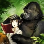 1girl androgynous black_hair book brown_pants collared_shirt dated day gorilla grey_eyes holding holding_book open_book original outdoors pants plant shirt short_hair sidelocks signature sitting uraki_(tetsu420) white_shirt