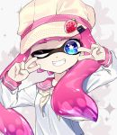 1girl amatcha bangs blouse blue_eyes blunt_bangs commentary domino_mask double_v flat_cap food fruit grin hat inkling long_sleeves looking_at_viewer mask neckerchief one_eye_closed pink_hair pink_headwear pointy_ears school_uniform serafuku sharp_teeth smile solo sparkle_background splatoon splatoon_(series) splatoon_2 standing strawberry teeth tentacle_hair upper_body v white_blouse yellow_neckwear