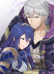 1boy 1girl a_meno0 armor black_gloves black_sweater blue_armor blue_eyes blue_hair closed_mouth collarbone commentary_request fire_emblem fire_emblem:_kakusei fire_emblem_heroes fire_emblem_musou gimurei gloves hair_between_eyes hair_ornament hood hooded_robe hug intelligent_systems long_hair love lucina male_my_unit_(fire_emblem:_kakusei) my_unit_(fire_emblem:_kakusei) nintendo open_clothes parted_lips red_eyes reflet ribbed_sweater robe shirt short_hair simple_background super_smash_bros. sweater tiara white_hair white_shirt