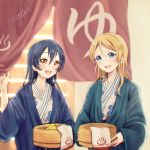 2girls :d artist_name ayase_eli bangs bath_yukata blonde_hair blue_eyes blue_hair blush brown_eyes bucket commentary_request hair_between_eyes hanten_(clothes) holding japanese_clothes kimono long_hair love_live! love_live!_school_idol_project multiple_girls onsen open_mouth rubber_duck signature smile sonoda_umi suito towel wooden_bucket yellow_eyes yukata