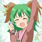 1girl :d ^_^ animal_ears aqua_background arm_up bangs blush brown_dress cato_(monocatienus) closed_eyes closed_eyes commentary_request dress emphasis_lines facing_viewer fang green_hair hand_up holding holding_microphone kasodani_kyouko long_sleeves microphone open_mouth smile solo touhou upper_body