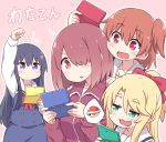 4girls :3 black_hair blonde_hair blue_eyes bow brown_hair copyright_name eyebrows_visible_through_hair fang flower green_eyes hair_bow hair_flower hair_ornament hair_over_one_eye handheld_game_console himesaka_noa holding hoshino_hinata hoshino_miyako_(wataten) jacket koopa_troopa long_hair mario_kart multiple_girls nintendo_3ds orange_eyes orange_hair playing_games red_eyes school_uniform shirosaki_hana short_hair siblings side_ponytail simple_background sisters smug spoken_object sweatdrop track_jacket track_suit vincent_(hiyakuen) watashi_ni_tenshi_ga_maiorita!
