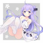 1girl ahoge azur_lane bangs black_bow black_ribbon blush bow collarbone dress eyebrows_visible_through_hair feet grey_background hair_bun hair_ribbon long_hair looking_at_viewer no_shoes object_hug one_side_up open_mouth purple_hair ribbon side_bun simple_background solo stuffed_alicorn stuffed_animal stuffed_toy stuffed_unicorn thigh-highs unicorn_(azur_lane) very_long_hair violet_eyes white_dress white_legwear yamasan