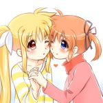 2girls black_ribbon blonde_hair blue_eyes blush couple hair_ornament hair_ribbon hand_holding happy interlocked_fingers kerorokjy long_hair lowres lyrical_nanoha mahou_shoujo_lyrical_nanoha mahou_shoujo_lyrical_nanoha_a's multiple_girls orange_hair red_eyes ribbon short_hair short_twintails simple_background smile twintails white_background white_ribbon yuri