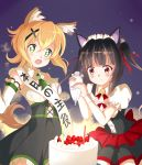 2girls akatsuki_kirika bangs birthday black_hair blonde_hair blunt_bangs blush breasts cake closed_mouth commentary_request detached_sleeves dress eyebrows_visible_through_hair food fruit green_eyes hair_ornament happy_birthday highres long_hair medium_breasts multiple_girls open_mouth pink_eyes rikopin senki_zesshou_symphogear shiny shiny_hair short_hair small_breasts smile star star-shaped_pupils strawberry symbol-shaped_pupils tsukuyomi_shirabe twintails x_hair_ornament