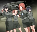 4girls adjusting_eyewear arms_behind_head arms_up ass bangs beret black_eyes black_hair black_headwear black_jacket black_neckwear black_skirt blush brown_eyes brown_hair closed_mouth commentary_request dress_shirt dutch_angle emblem finger_frame from_behind frown girls_und_panzer grin ground_vehicle half-closed_eyes hat holding jacket japanese_tankery_league_(emblem) kadotani_anzu kawashima_momo long_hair long_sleeves looking_at_viewer looking_back medium_hair medium_skirt military military_hat military_uniform military_vehicle monocle motor_vehicle multiple_girls necktie nishizumi_miho notepad older one_eye_closed parted_bangs pencil_skirt reizei_mako saitou_gabio selection_university_(emblem) selection_university_military_uniform semi-rimless_eyewear shirt short_hair silver-framed_eyewear skirt smile standing tank twintails under-rim_eyewear uniform vehicle_request white_shirt