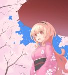 blonde_hair cherry_blossoms choujigen_game_neptune compa drawfag hair_ornament hairband japanese_clothes kimono long_hair neptune_(series) orange_eyes sky smile
