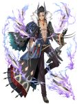 1boy abs belt black_footwear black_gloves black_hair black_pants blade claw_(weapon) gem gloves grin highres horns kingdom_of_legion knife looking_at_viewer male_focus official_art pants red_eyes simple_background smile solo spiky_hair standing standing_on_one_leg teeth tyone weapon white_background wide_sleeves