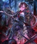 1girl android arm_at_side armor armored_dress bangs black_hair breasts closed_mouth corset dress expressionless floating_hair frilled_dress frills gauntlets gears gem glowing greaves green_eyes grey_eyes hand_on_own_chest headgear high_heels highres irua light_particles long_hair looking_at_viewer mechanical_arms mechanical_legs medium_breasts mono_garnet_rebel multicolored multicolored_eyes night official_art red_eyes robot_joints ruby_(gemstone) ruins shadowverse sitting slit_pupils solo very_long_hair watermark
