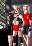 3girls abs bike_shorts bucket cage eyebrows_visible_through_hair fingerless_gloves gloves green_eyes green_hair hair_ribbon kantai_collection knee_brace long_hair looking_at_viewer midriff mixed_martial_arts mma_gloves mouth_guard multiple_girls muneate muscle muscular_female navel octagon ribbon rigid rigidsteed shirt shorts shoukaku_(kantai_collection) solo sports_bra toned towel twintails white_ribbon zuikaku_(kantai_collection)