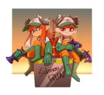 1boy 1girl artist_name baseball_cap boots closed_mouth dapple_dualies_(splatoon) domino_mask dual_wielding elbow_gloves full_body gloves green_footwear green_gloves grey_eyes hat highres holding inkling l-3_nozzlenose_(splatoon) lifebuoy long_hair mask octarian octoling ohil_(ohil822) orange_hair orange_overalls overalls pointy_ears red_eyes rubber_boots rubber_gloves salmon_run short_hair sitting smile splatoon splatoon_(series) splatoon_2 tentacle_hair