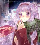 1girl ayuko_(ayuco) band blush hairband happy_birthday idolmaster idolmaster_(classic) long_hair open_mouth scarf shijou_takane snow twitter_username winter