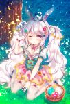 1girl alternate_costume animal_ears azur_lane bangs basket between_legs blush breasts chestnut_mouth cleavage clover_hair_ornament commentary_request easter_egg egg eyebrows_visible_through_hair flower flower_bracelet four-leaf_clover_hair_ornament garter_straps grass green_hairband green_headwear hair_between_eyes hair_flower hair_ornament hairband hand_between_legs hand_up hat laffey_(azur_lane) long_hair looking_at_viewer mini_hat mini_top_hat on_grass one_eye_closed parted_lips pink_flower pink_skirt polka_dot_skirt puffy_short_sleeves puffy_sleeves rabbit_ears red_flower short_sleeves silver_hair sitting skirt small_breasts solo suzunone_rena thigh-highs top_hat tree twintails very_long_hair wariza white_legwear