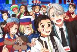 2girls 6+boys :d ^_^ american_flag beret black_hair blazer blonde_hair blue_eyes bow bowtie brown_eyes brown_hair canadian_flag closed_eyes closed_eyes dog fang flag french_flag georgi_popovich green_eyes grin hair_over_one_eye hand_on_another's_shoulder hat it's_j.j._style! italian_flag jacket japanese_flag jean-jacques_leroy jewelry katsuki_yuuri lanyard leo_de_la_iglesia makkachin michele_crispino mila_babicheva minami_kenjirou multicolored_hair multiple_boys multiple_girls necktie one_eye_closed open_mouth redhead ring russian_flag sara_crispino scarf self_shot silver_hair smile top_hat track_jacket twc_(p-towaco) two-tone_hair v viktor_nikiforov violet_eyes yuri!!!_on_ice yuri_plisetsky