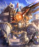 6+boys al-qalam armor battle blue_sky cannon day gold_armor helmet highres holding holding_sword holding_weapon mecha multiple_boys official_art outdoors shadowverse shield sky sword watermark weapon