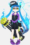 1girl amatcha aura bangs baseball_cap bike_shorts black_headwear black_shorts blue_hair blunt_bangs closed_mouth commentary cross-laced_footwear diffraction_spikes domino_mask earrings eyes_visible_through_hair full_body grey_background hat heavy_splatling_(splatoon) highres holding holding_weapon inkling jacket jewelry light_frown logo long_hair looking_at_viewer mask no_legwear pointy_ears print_hat print_jacket purple_footwear shoes shorts simple_background single_vertical_stripe sneakers solo sparkle splatoon splatoon_(series) splatoon_2 standing stud_earrings tentacle_hair weapon yellow_eyes zipper